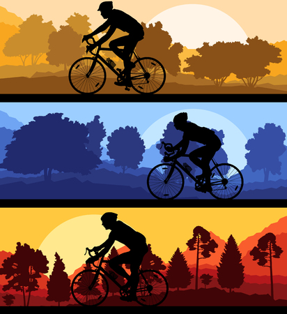 bicycler: Bicyclist riding bicycle background silhouette vector illustration landscape set with sunsets