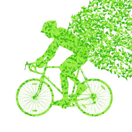 fragments: Cyclists rider winner vector background concept made of fragments isolated on white