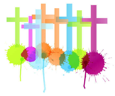 christianity: Cross with color splashes background isolated vector abstract Christianity concept