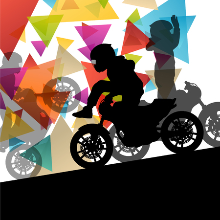 stunt: Motorcycle performance extreme stunt driver man and woman in abstract sport landscape background illustration vector