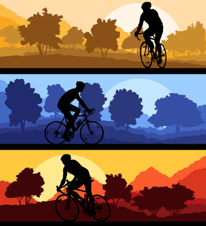 sunsets: Bicyclist riding bicycle background silhouette vector illustration landscape set with sunsets