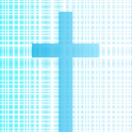 worshiping: Cross with bright white and blue background vector abstract Christianity concept