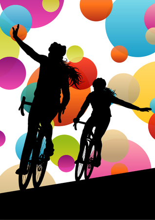 post teen: Active men cyclists bicycle riders in abstract sport landscape background illustration vector