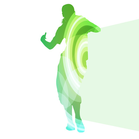 healthy people: Street dancer young active and healthy people sport silhouette vector background illustration