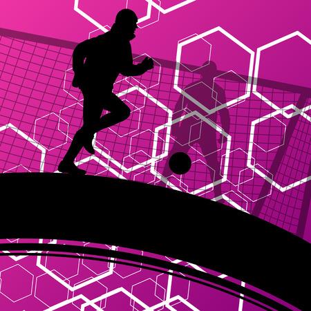 Giocatore di calcio degli uomini sagome con palla in attivo e sano sport all'aria aperta astratto illustrazione vettoriale stagionale Archivio Fotografico - 52849543