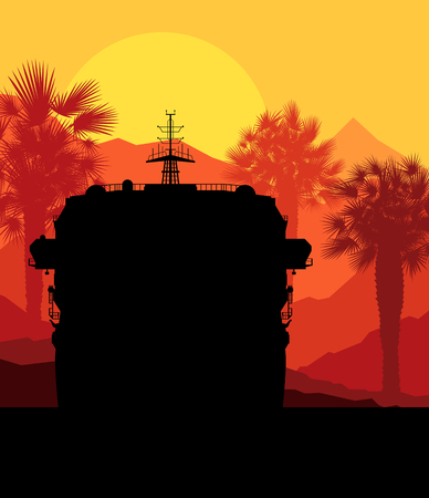 tropical beach panoramic: Cruise ship and palm tree vector background illustration nature landscape sunset