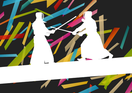 bamboo stick: Active japanese Kendo sword martial arts fighters sport silhouettes abstract illustration background vector