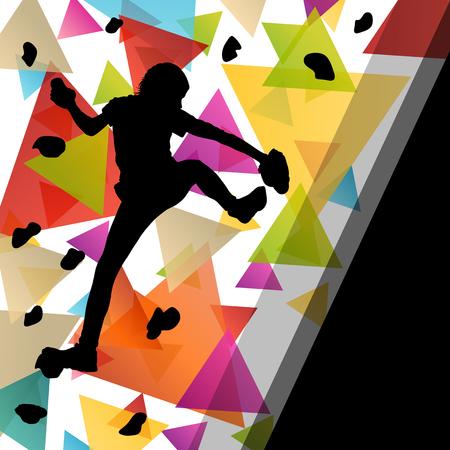Kinder Mädchen Silhouetten auf Kletterwand in aktiven und gesunden Sport Hintergrund vektor Vektorgrafik