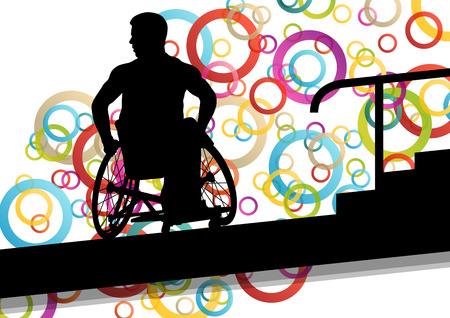 empujando: los hombres discapacitados activos en una silla de ruedas concepto de salud médica silueta ilustración vectorial
