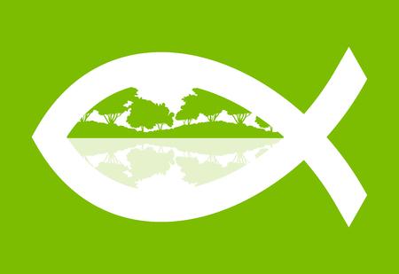 pez cristiano: pescados cristianos del vector resumen de antecedentes ilustración del concepto verde con paisaje de la naturaleza