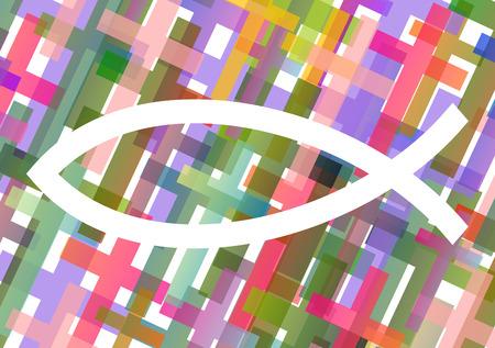 jesus fish: Christian fish Jesus symbol abstract vector background concept illustration