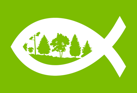ichthus: Christian fish green abstract vector background concept illustration with nature landscape