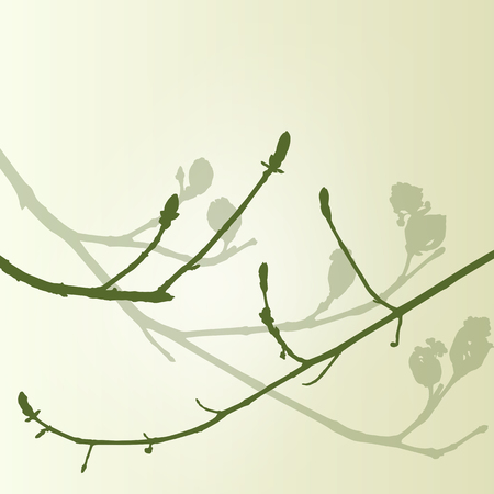 new start: Branch green buds ecology environmental spring vintage background vector illustration new start concept
