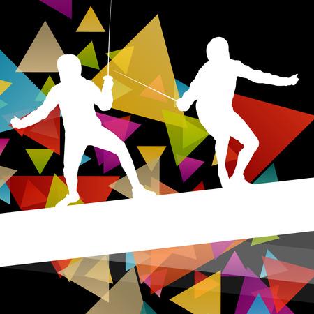 siluetas mujeres: deporte de la esgrima y hombres jóvenes y las mujeres activas siluetas de fondo abstracto ilustración vectorial