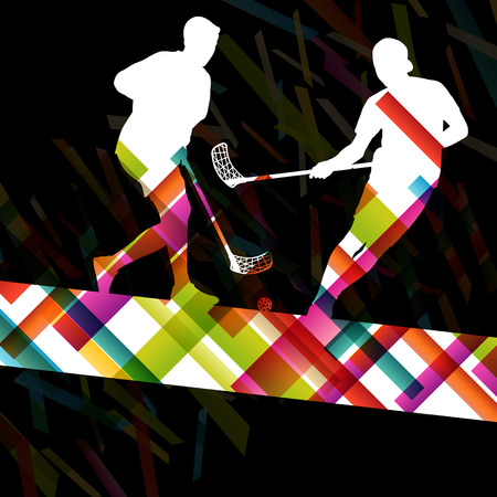 floorball: Floorball players silhouettes active and healthy sport vector abstract background illustration
