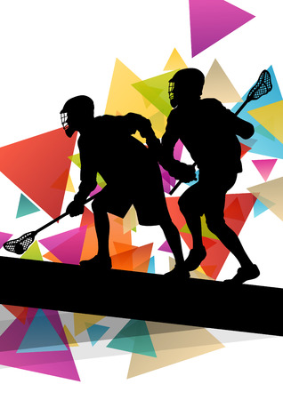 indoor sport: Lacrosse players silhouettes active and healthy sport vector abstract background illustration