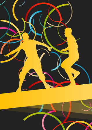 healthy people: Street dancers young active and healthy people sport silhouettes vector background illustration