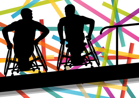 crippled: Active disabled men in a wheelchair medical health concept silhouette illustration background vector