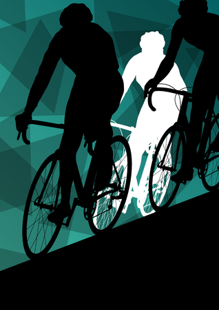 extreme sports: Active healthy men cyclists bicycle riders in abstract sport landscape background illustration vector
