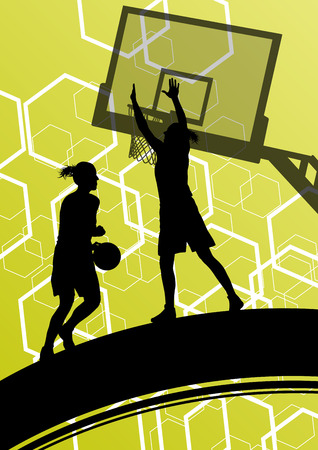 basketball shot: Basketball players young active healthy sport silhouettes vector background illustration Illustration