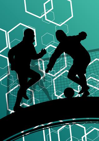 Giocatore di calcio degli uomini sagome con palla in attivo e sano sport all'aria aperta astratto illustrazione vettoriale stagionale Archivio Fotografico - 52849655