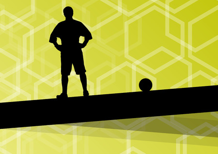 Soccer player men silhouettes with ball in active and healthy seasonal outdoor sport abstract background illustration vector