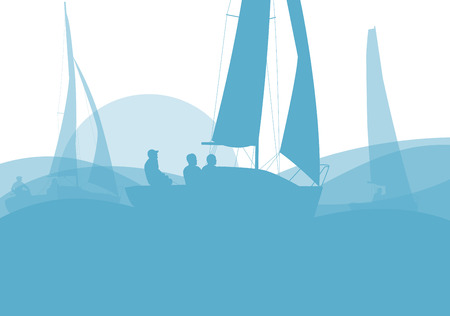 crew: Sailing ship yacht in sunrise vector background abstract illustration