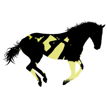 trot: Wild horse silhouette made of abstract background forest landscape all isolated on white Illustration