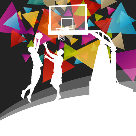 basketball shot: Basketball players young active men healthy sport silhouettes vector background illustration Illustration
