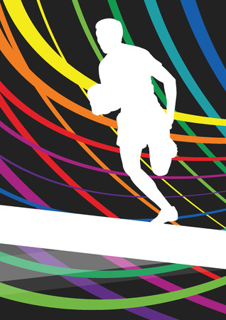 scrum: Rugby player young active man healthy sport silhouette vector background illustration