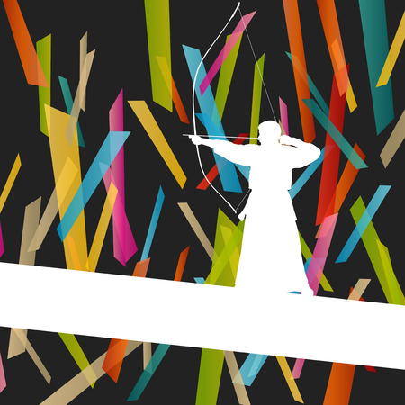 longbow: Active japanese kendo sport kyudo archer martial arts fighter bow silhouette abstract illustration sport background vector Illustration