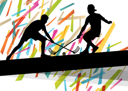 Floorball players silhouettes active and healthy sport vector abstract background illustration