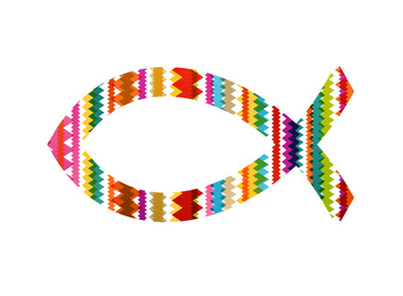 ichthus: Christian fish abstract vector background concept illustration Illustration
