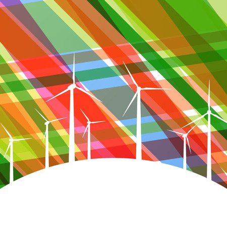 generators: Colorful wind electricity generators and windmills detailed ecology electricity silhouettes illustration collection background vector Illustration
