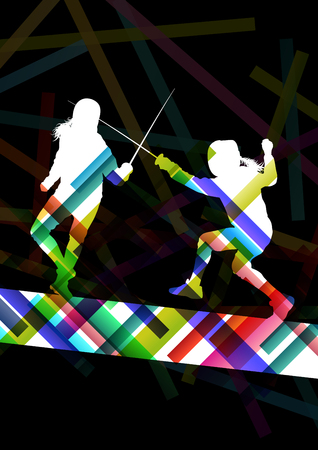 rival rivals rivalry season: Fencing sport young and active men and women silhouettes in abstract background illustration vector