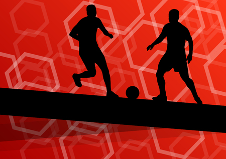 keeper: Soccer player men silhouettes with ball in active and healthy seasonal outdoor sport abstract background illustration vector