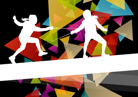 Fencing sport young and active men and women silhouettes in abstract background illustration vector