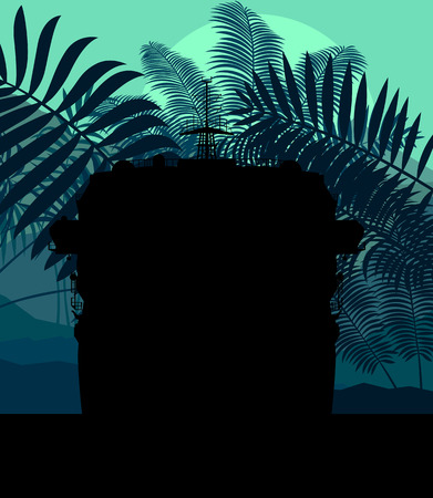 panoramic beach: Cruise ship and palm tree vector background illustration nature landscape sunset