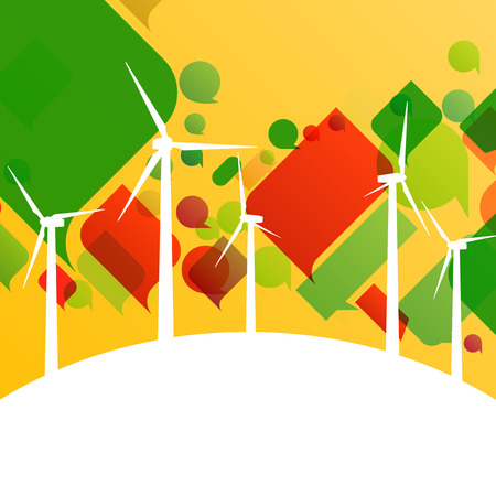 converter: Colorful wind electricity generators and windmills detailed ecology electricity silhouettes illustration collection background vector Illustration