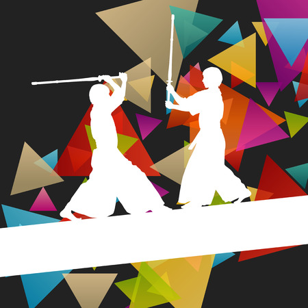 martial ways: Active japanese Kendo sword martial arts fighters sport silhouettes abstract illustration background vector