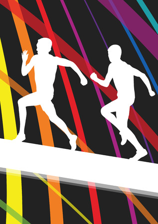 race winner: Hurdle race active and healthy men barrier running vector background winner overcoming difficulties concept graphic vector