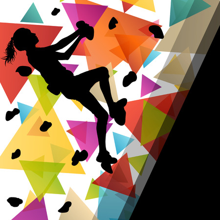 climbing wall: Children girl silhouettes on climbing wall in active and healthy sport background illustration vector