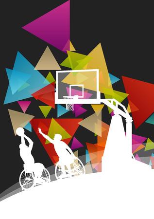 los hombres con discapacidad jugadores de baloncesto activa y saludable en una silla de ruedas se detalla el deporte concepto silueta de ilustración de fondo vector Ilustración de vector