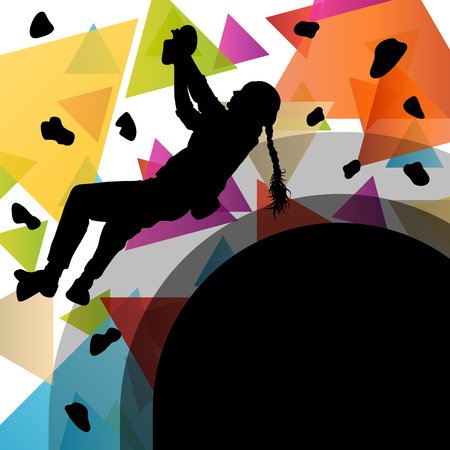 climbing: Children girl silhouettes on climbing wall in active and healthy sport background illustration vector