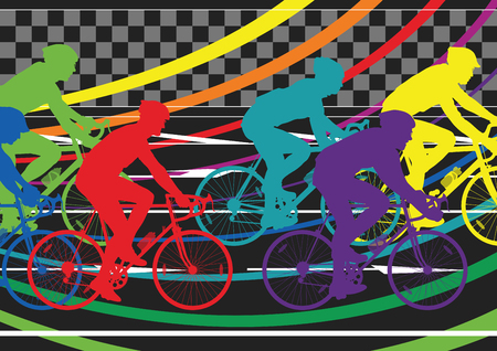 healthy sport: Active healthy men cyclists bicycle riders in abstract sport landscape background illustration vector
