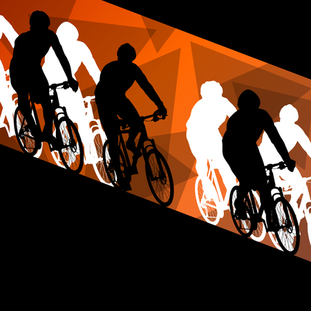 post teen: Active healthy men cyclists bicycle riders in abstract sport landscape background illustration vector