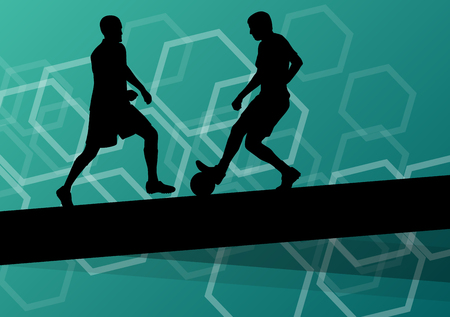 stamina: Soccer player men silhouettes with ball in active and healthy seasonal outdoor sport abstract background illustration vector