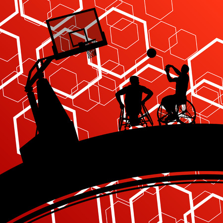 border silhouette: Basketball players young active healthy sport silhouettes vector background illustration Illustration