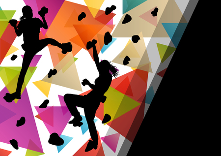 ni�o escalando: Children girl silhouettes on climbing wall in active and healthy sport background illustration vector