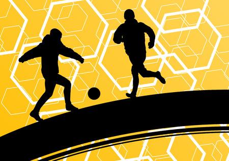 Giocatore di calcio degli uomini sagome con palla in attivo e sano sport all'aria aperta astratto illustrazione vettoriale stagionale Archivio Fotografico - 52849846